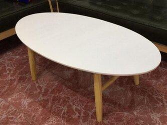 オーダーメイド 職人手作り ローテーブル オーバル型 座卓 ホワイト 白家具 モノトーン 北欧モダン サイズオーダー可の画像