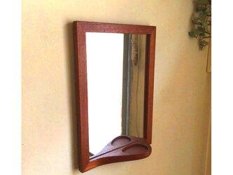e-mirror <チーク> 小さなトレイ付き掛け鏡の画像