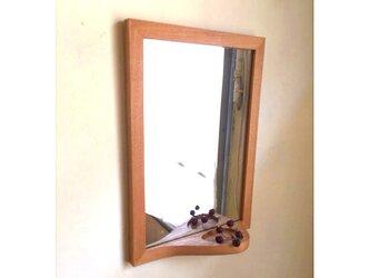 e-mirror <タモ> 小さなトレイ付き掛け鏡の画像