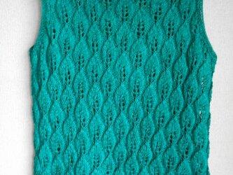 エメラルドグリーンのシルク透かし編みの画像
