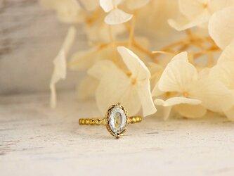 真鍮 アクアマリンのリングの画像
