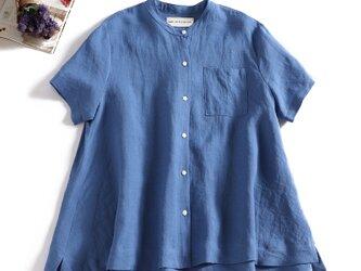 ラフで爽やかな極上リネンシャツ トップス リネン100%半袖 セルリアンブルー190710-4の画像