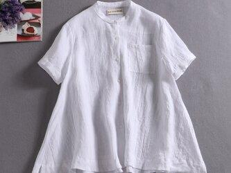 ラフで爽やかな極上リネンシャツ トップス リネン100%半袖 アッシュグレー190710-7の画像