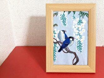 手刺繍浮世絵フレーム*小原古邨「藤に文鳥」の画像