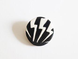 磁器ブローチ・丸 カミナリ ブラックの画像