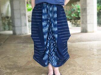 手織り綿絣織り変わりロングスカート、オールシーズンの画像