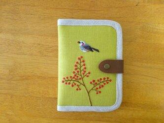 手刺繍マルチケース ヒヨドリと南天(送料無料)の画像