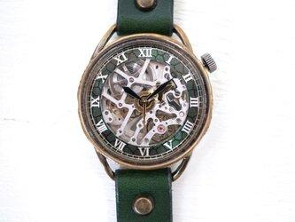 メカニックシルバー AT グリーン 真鍮 手作り腕時計の画像
