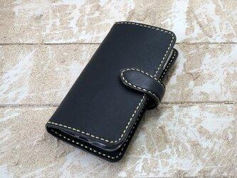 iPhone & android 手帳型 レザーケース ブラック×ブラック 糸 ゴールドの画像