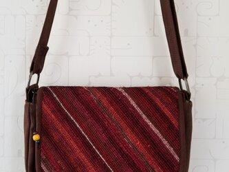 裂き織り×帆布 蓋つきショルダーバッグの画像