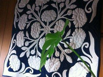オーダーメイド ハワイアンキルト タペストリー 芍薬の画像