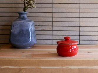 1600年創業 13代目職人 加藤さんのつくる甕(かめ)1合・赤(蓋物・漬物入れ・調味料入れ)梅干し約7個ほど入りますの画像