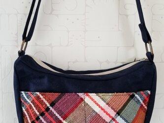 裂き織り×帆布 ショルダーバッグの画像