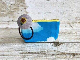 夏!青空とひまわりの手のひらサイズポーチセット  小物入れの画像