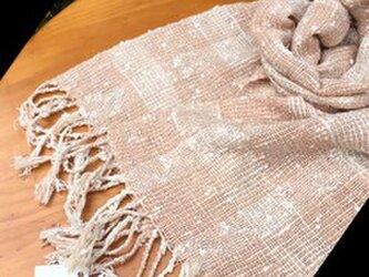 畑からの優しい贈り物 手紡ぎオーガニック和綿桜染め糸を使ったマフラーの画像
