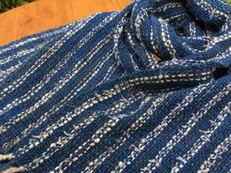 畑からの優しい贈り物 糸から手作りオーガニック和綿藍染マフラーの画像