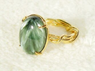 5.36ctセラフィナイトとSV925の指輪(リングサイズ:11号、K18イエローゴールドの厚メッキ加工、カボション)の画像