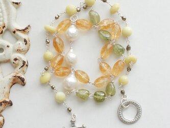 LeJ(ルジィ) シトリン・プリナイト 柑橘系色のネックレスの画像