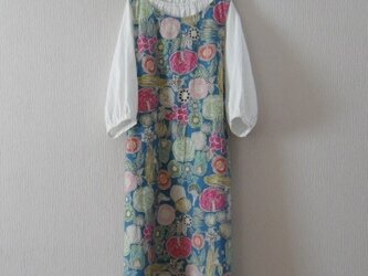 【E様ご注文品】綿麻のジャンパースカート ブルーの画像