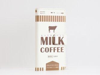 iphone12 ケース 手帳 ベルト付 ミルク コーヒーの画像