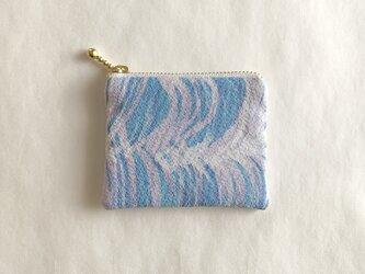 絹手染ミニポーチ(7.8cm×9.4cm 縦モクモク・淡紫薄青系)の画像