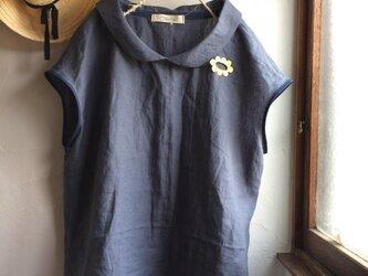 リネン100 丸襟 フレンチスリーブブラウス 大人ネイビーグレーの画像