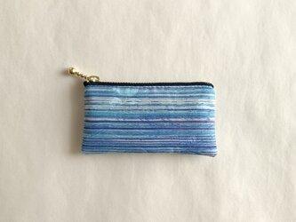 絹手染ミニポーチ(6cm×10.8cm 横・渋青紫)の画像