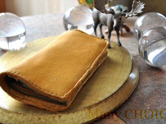 やみつきエルクとイタリアンレザープエブロの長財布(黄茶×オリーバ)の画像