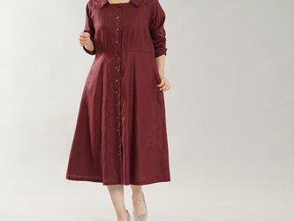 【wafu】中厚 リネン ワンピース 2way スクエアネック  羽織にも ミモレ丈 ドレス / アガット a055d-agt2の画像