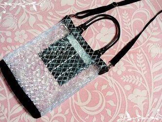 2way PVCクリスタル柄とモロッカンラミネートのバッグの画像
