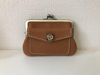外ポッケのついた、四角い本革ぺたんこ親子がまぐちミニ財布【きつね色レザー】の画像