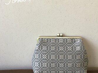 pouch[手織りがま口ポーチ] ベージュ×シルバーベージュの画像