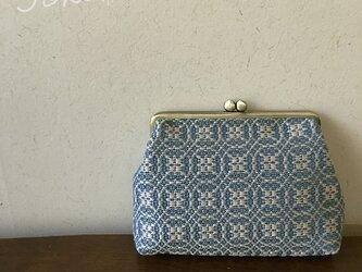 pouch[手織りがま口ポーチ] ブルー×シルバーベージュの画像