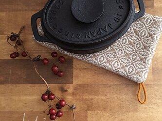 手織り タテ長ポットマット ブラウンの画像