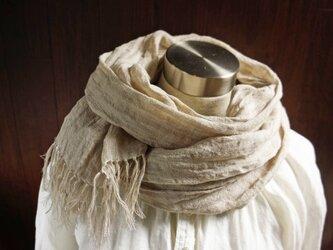 透かし織 くったり上質リネン シングルガーゼのストール 亜麻色の画像
