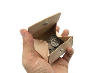 BOX型コインケース/ボックス型小銭入れ ヌメ革:ナチュラル【選べるステッチカラー】(r005)の画像
