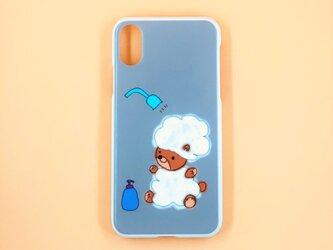 かわいいシャンプーくまちゃんハードスマホケース(iPhone/その他)グレーの画像