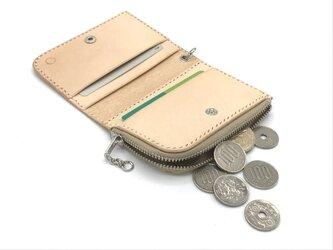 ファスナーコインケース ヌメ革:ナチュラル【選べるステッチカラー】(r008)の画像