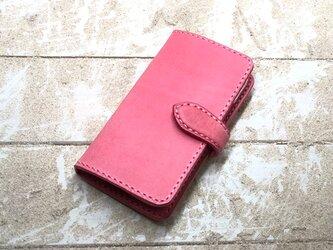 iPhone & android 手帳型 レザーケース サクラピンク×サクラピンク 糸 ピンクの画像