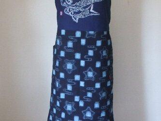 絣と藍染鯉のぼりのエプロン風スカート 木綿の画像