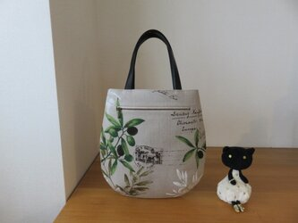 YUWAオリーブ柄リネンのたまご型トートバッグ 本革持ち手の画像