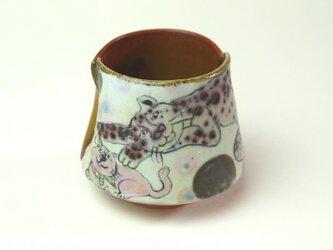 猫と虎の湯飲み/ 陶器/ 色絵/ 窯変/ カップ/ 可愛い器 / 陶芸家が作る愉しい器の画像