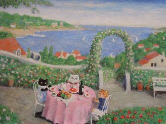 バカンス・ピンク色のテーブルの画像