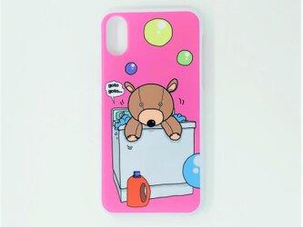 かわいい洗濯クマちゃんハードスマホケース(iPhone/その他)ピンクの画像