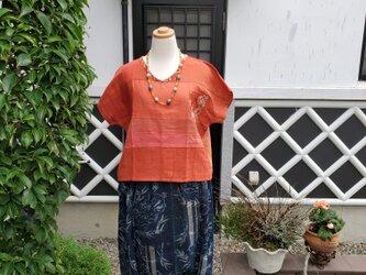 着物リメイク 手作り 紅花染め 木綿 パッチフレンチブラウスの画像