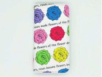 キレイな色とりどりのバラを描いたiPhone手帳型スマホケース(帯無し)の画像