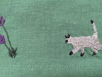 綿麻 ワイドパンツ シャム猫とラベンダーの画像