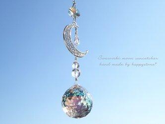 スワロフスキー*オーロラと月と水晶のサンキャッチャーの画像