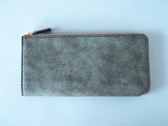 【イタリアンレザー】薄型L字ファスナー長財布 グレーの画像