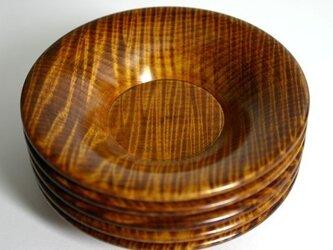 栃ちぢみ杢茶托 12cm 5枚組みの画像